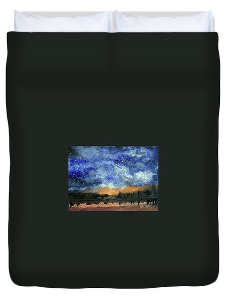Starry Night Across Our Lake Duvet Cover