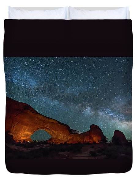 Starry Night At North Window Rock Duvet Cover