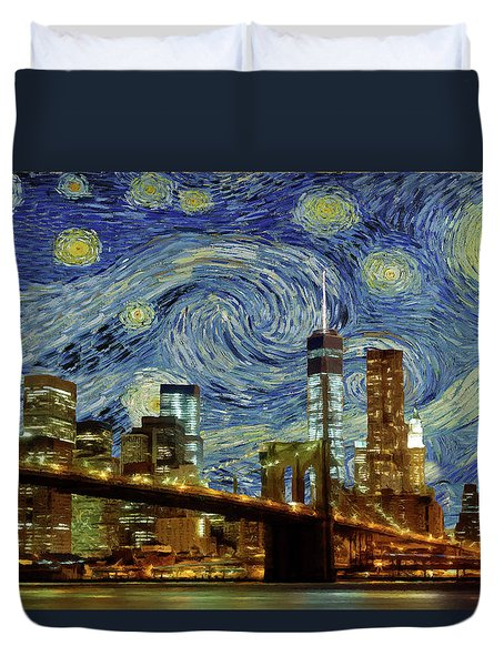 Starry Night Brooklyn Bridge Duvet Cover by Movie Poster Prints