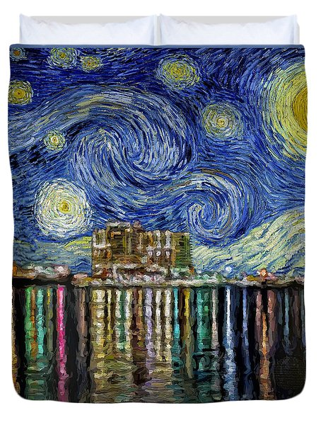Starry Night In Destin Duvet Cover