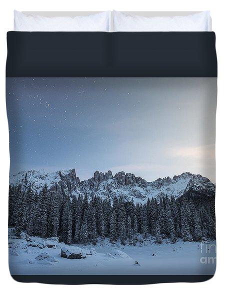 Duvet Cover featuring the photograph Starry Night Over Carezza Lake by Yuri Santin
