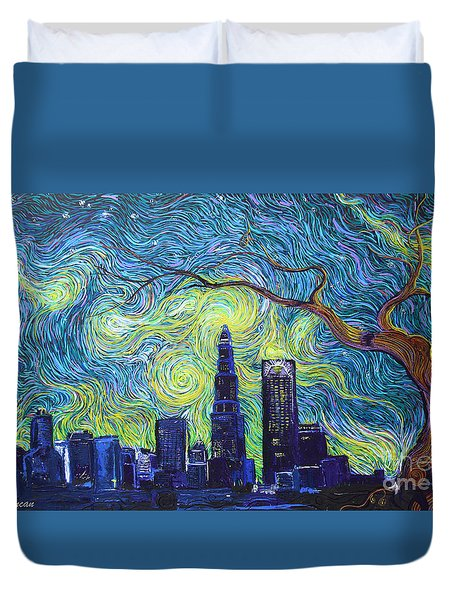 Starry Night Over The Queen City Duvet Cover