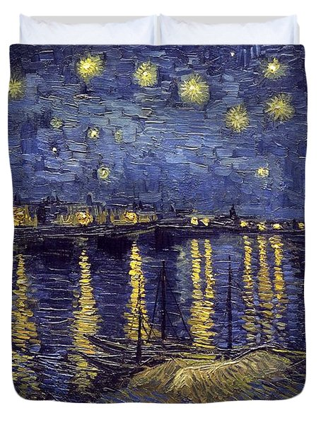 Duvet Cover featuring the painting Starry Night Over The Rhone by Van Gogh