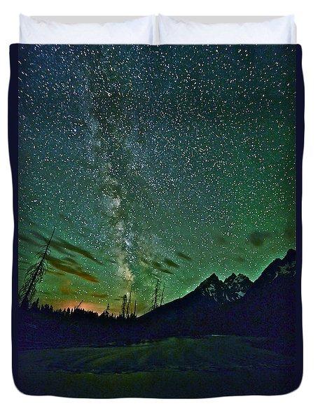Starry Night Over The Tetons Duvet Cover