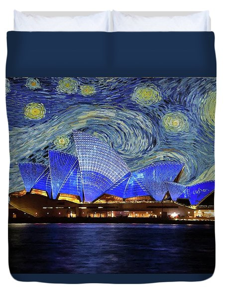 Starry Night Sydney Opera House Duvet Cover by Movie Poster Prints