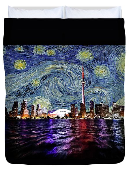 Starry Night Toronto Canada Duvet Cover by Movie Poster Prints