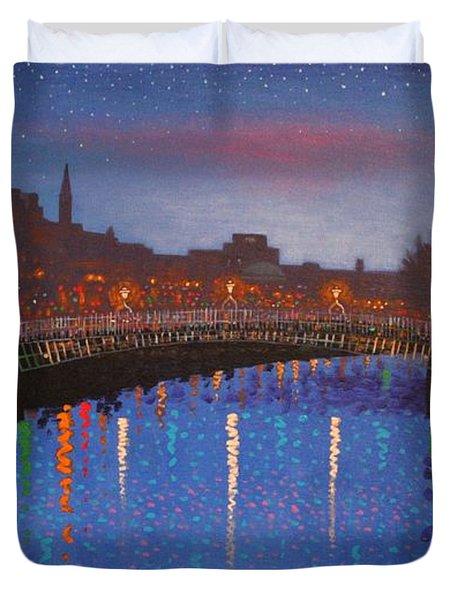 Starry Nights In Dublin Ha' Penny Bridge Duvet Cover by John  Nolan