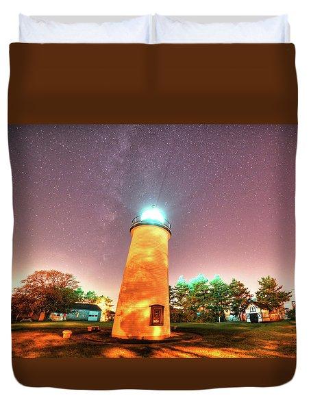 Starry Sky Over The Newburyport Harbor Light Duvet Cover
