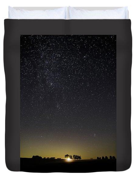 Starry Sky Over Virginia Farm Duvet Cover