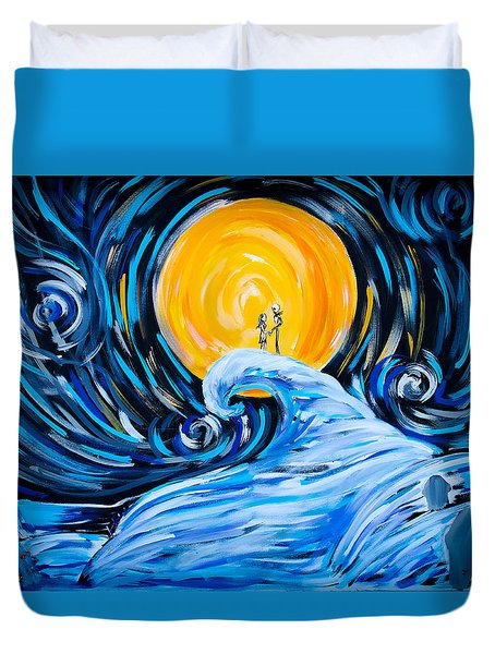 Starry Spiral Hill Night Duvet Cover