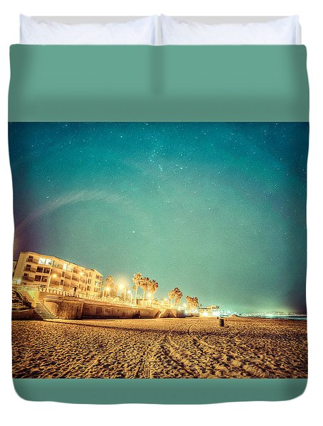 Duvet Cover featuring the photograph Starry Starry Pacific Beach by T Brian Jones
