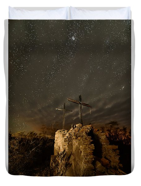 Duvet Cover featuring the photograph Stars And Crosses by Allen Biedrzycki