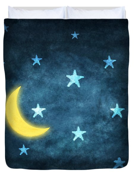 Stars And Moon Drawing With Chalk Duvet Cover