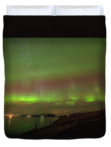 Stars And Northern Lights Duvet Cover