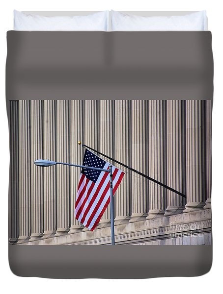 Duvet Cover featuring the photograph Stars And Stripes And Pillars Oh My  by John S