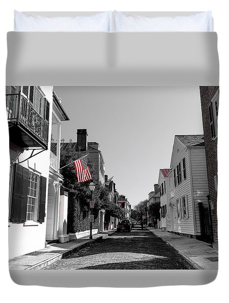 Stars And Stripes- Church St Charleston Sc Duvet Cover