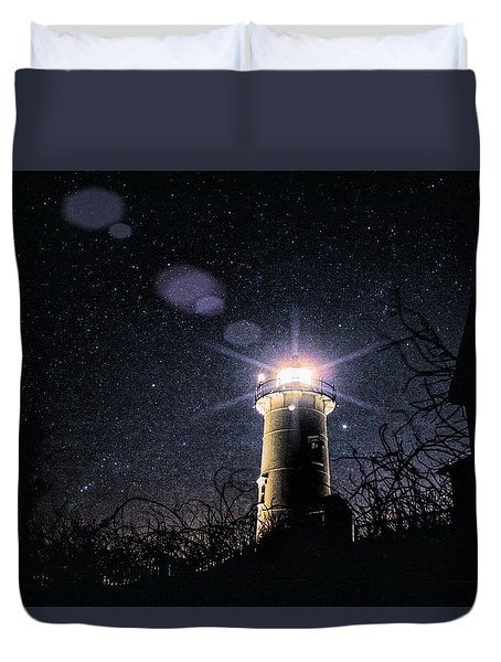 Stars Over Nobska Lighthouse Duvet Cover