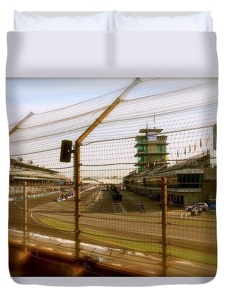 Duvet Cover featuring the photograph Start Finish Indianapolis Motor Speedway by Iconic Images Art Gallery David Pucciarelli