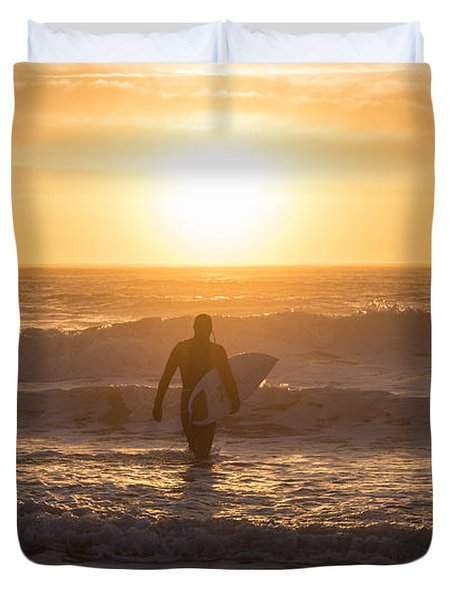 Start The Day Surfing Duvet Cover
