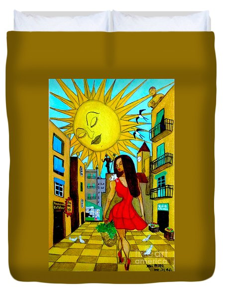 Duvet Cover featuring the painting Starting A New Day by Don Pedro De Gracia
