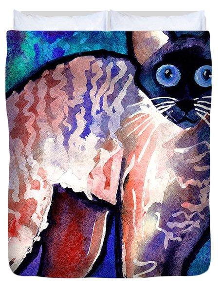 Startled Cornish Rex Cat Duvet Cover