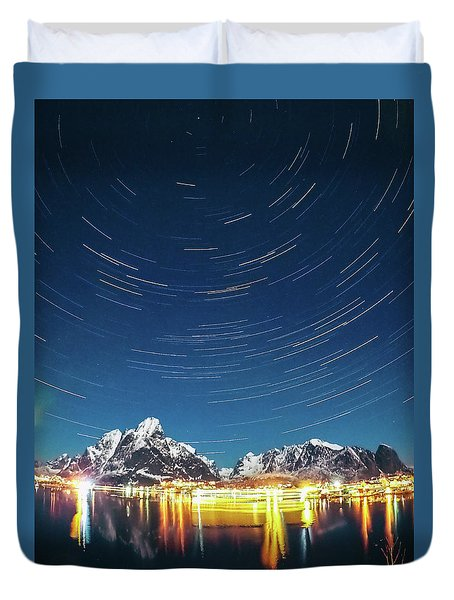 Startrails Above Reine Duvet Cover