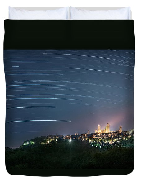 Startrails Over San Gimignano Duvet Cover