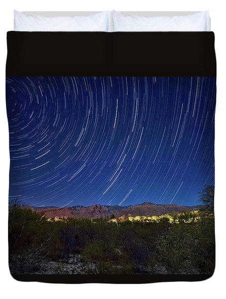 Startrails Over Thimble Peak Duvet Cover
