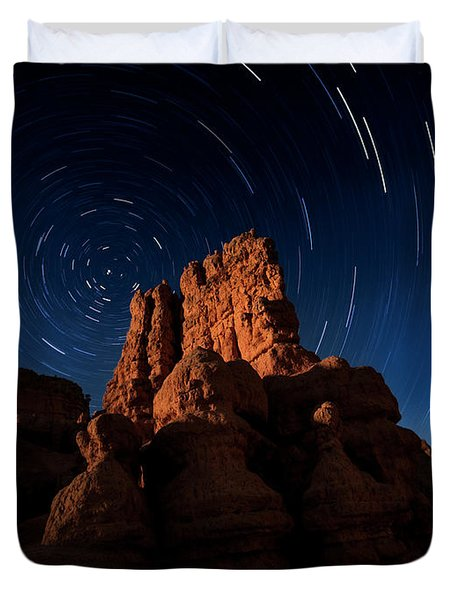 Duvet Cover featuring the photograph Stary Trails At Red Canyon by Edgars Erglis