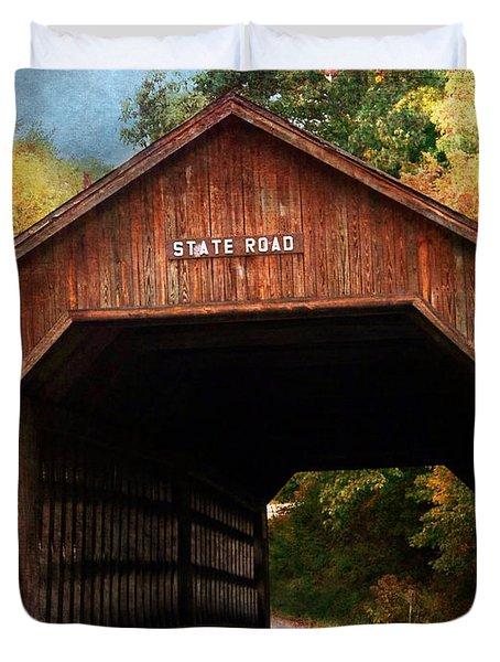 State Road Covered Bridge Duvet Cover
