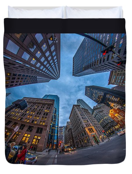 State Street Look Up Boston Ma Duvet Cover