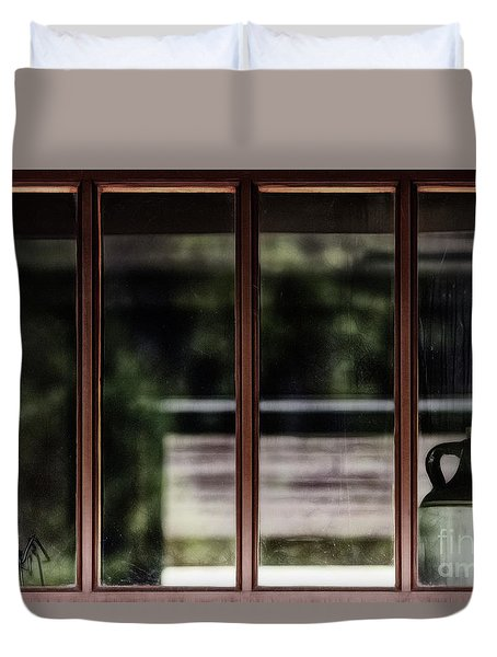 Duvet Cover featuring the photograph Station Window by Brad Allen Fine Art