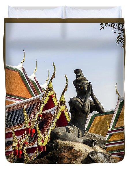 Statue At Famous Wat Pho Temple Duvet Cover
