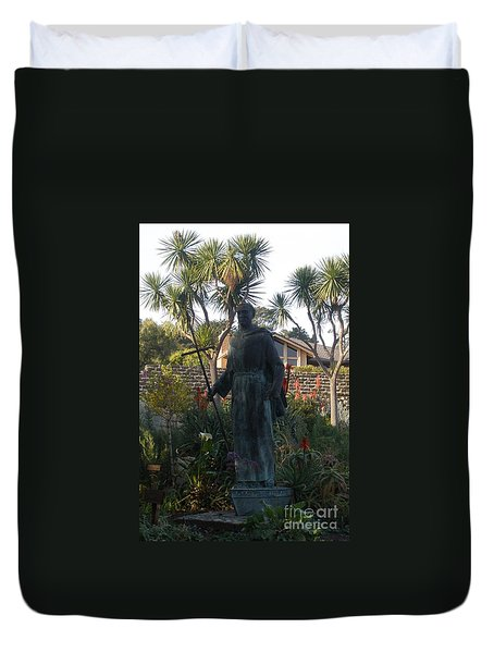 Statue At Mission Carmel Duvet Cover