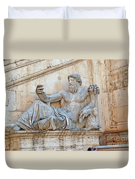 Statue Capitoline Hill Of Rome Italy Duvet Cover