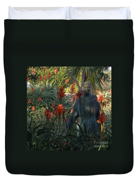 Statue In The Garden  Duvet Cover