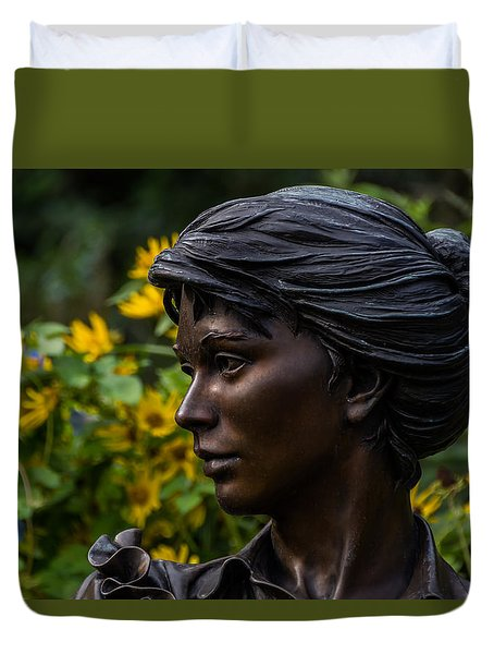 Duvet Cover featuring the photograph Statue by Jay Stockhaus