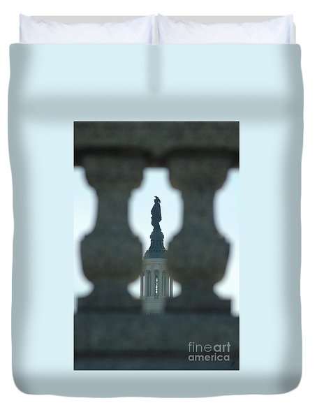 Statue Of Freedom Through Railing Duvet Cover