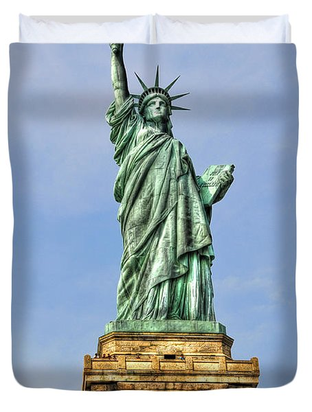 Statue Of Liberty Front View Duvet Cover by Randy Aveille