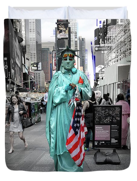 Statue Of Liberty Guy Duvet Cover