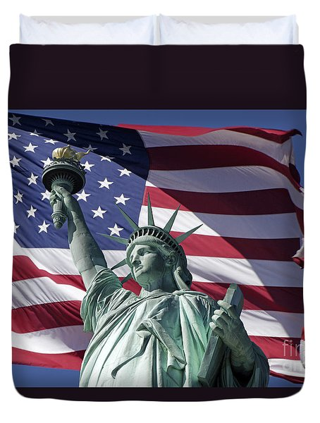 Duvet Cover featuring the photograph Statue Of Liberty New York  by Juergen Held