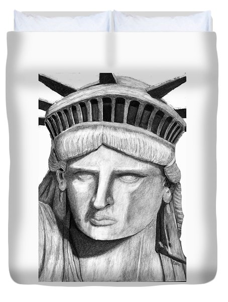 Statue Of Liberty Selfie Duvet Cover