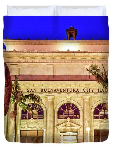 Statue Of Saint Junipero Serra In Front Of San Buenaventura City Hall Duvet Cover