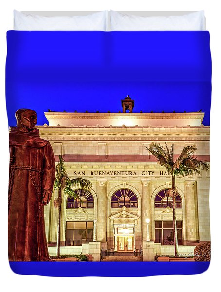 Statue Of Saint Junipero Serra In Front Of San Buenaventura City Hall Duvet Cover