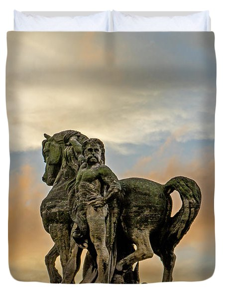 Duvet Cover featuring the photograph Statue On The Pont D'iena Bridge by Jean Haynes
