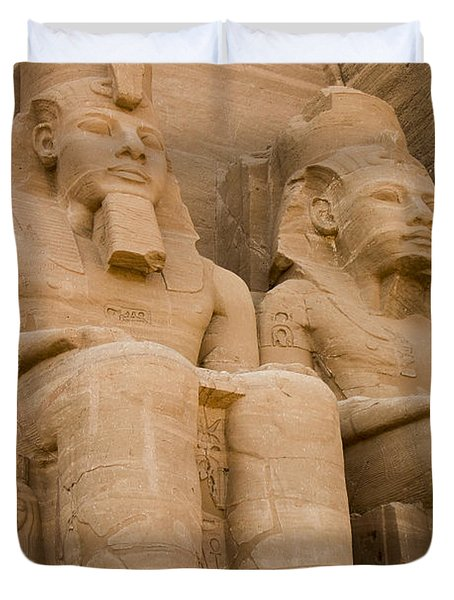 Statues At Abu Simbel Duvet Cover by Darcy Michaelchuk