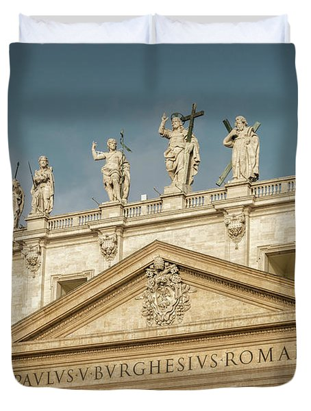 Statues Of St Peter's Basilica Duvet Cover