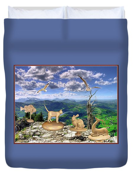 Statues Of The Rock Duvet Cover