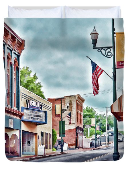 Duvet Cover featuring the photograph Staunton Virginia - Art Of The Small Town by Kerri Farley