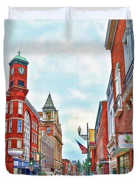 Duvet Cover featuring the photograph Staunton Virginia - The Queen City - Art Of The Small Town by Kerri Farley